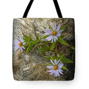 Stone Flowers Blue Tote Bag