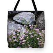 Stone Flowers Pink Tote Bag