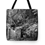 Stone Stairway Along The Wissahickon Creek In Black And White Tote Bag