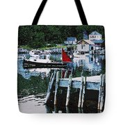 Stonington Harbor With Pier Maine Coast Tote Bag