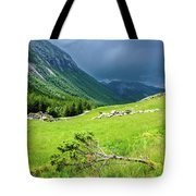 Storm Approaching Over Beautiful Green Field In Norway Tote Bag