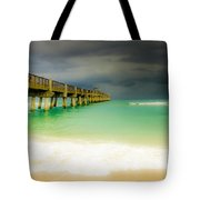 Storm Arrives At The Pier Tote Bag