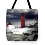 Storm At The Grand Haven Lighthouse Tote Bag