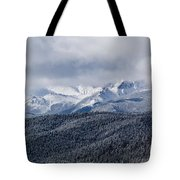 Storm Clouds Receding And Fresh Snow On Pikes Peak Tote Bag
