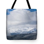 Storm Clouds And Snow On Pikes Peak Tote Bag