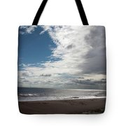 Storm Clouds Clearing The Beach With Wind Farm In The Background Skegness Lincolnshire England Tote Bag