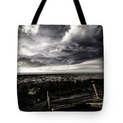 Storm Clouds Over Beached Shipwreck Tote Bag