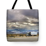 Storm Clouds Over The Highway Tote Bag