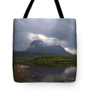 Storm Clouds Passing Across Suilven  And Fion Loch Near Ullapool Ross And Cromarty Scotland Tote Bag