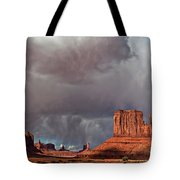 Storm Over Monument Valley Tote Bag by Wesley Aston
