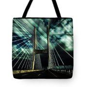 Storm Over The Bridge  Tote Bag