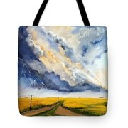 Storm Over The Country Road Tote Bag