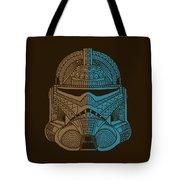 Stormtrooper Helmet - Star Wars Art - Brown Blue Tote Bag