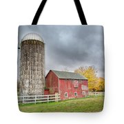Stormy Autumn Skies Square Tote Bag