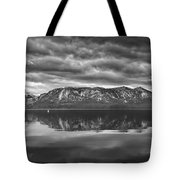 Stormy Lake Tahoe Black And White Tote Bag