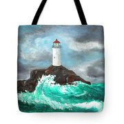 Stormy Ligthouse Tote Bag