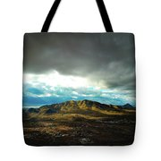 Stormy Mountains In Sunlight Tote Bag