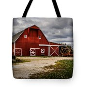 Stormy Red Barn Tote Bag