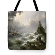 Stormy Sea With Lighthouse On The Coast Tote Bag