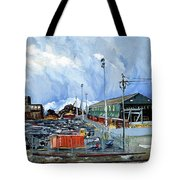 Stormy Sky Over Shipyard And Steel Mill Tote Bag