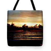 Stormy Sunrise Over The Ocean  Tote Bag