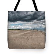 Stormy Weather Over Tentsmuir Beach In Scotland Tote Bag