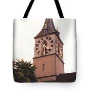 St.peter Church Clock In Zurich Switzerland Tote Bag