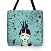 Strange Hairstyle And Flowery Swirls Tote Bag
