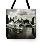 Strasbourg. View From The Barrage Vauban. Black And White Tote Bag