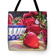 Strawberries And Roses Tote Bag