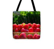 Strawberries And Summer Showers Tote Bag