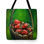 Strawberries Contemporary Oil Painting Tote Bag