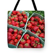 Strawberries In A Box On The Green Grass Tote Bag