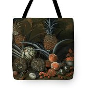 Strawberries In A Porcelain Bowl With Pineapples Melons Peaches And Figs Before A Tropical Landscape Tote Bag