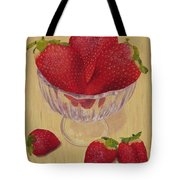 Strawberries In Crystal Dish Tote Bag
