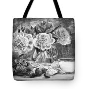 Strawberries With Cream Black And White Tote Bag
