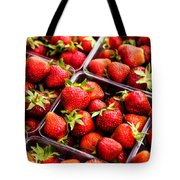 Strawberries With Green Weed In Plastic Containers  Tote Bag