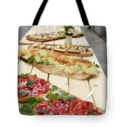 Strawberry Cake And Other Snacks On A Wood Table Outdoors On Sta Tote Bag