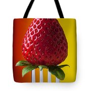 Strawberry On Fork Tote Bag by Garry Gay