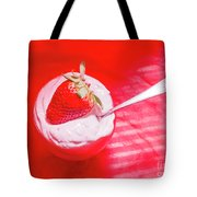 Strawberry Yogurt In Round Bowl With Spoon Tote Bag
