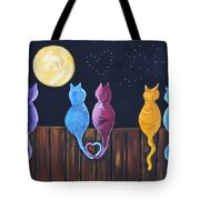 Stray Cats In Moonlight Tote Bag