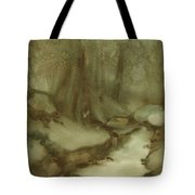 Trees By Stream Tote Bag