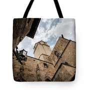 Street Behind The Barcelona Cathedral In Spain. Tote Bag