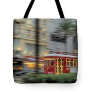 Street Car Flying Down Canal Tote Bag
