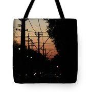 Street Car Sunset Tote Bag