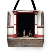 Street Dog At Church Tote Bag