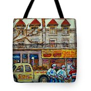 Street Hockey Pointe St Charles Winter  Hockey Scene Paul's Restaurant Quebec Art Carole Spandau     Tote Bag