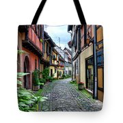 Street In Eguisheim, Alsace, France Tote Bag