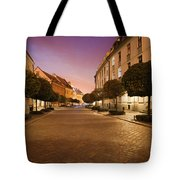 Street In Ostrow Tumski By Night In Wroclaw Tote Bag