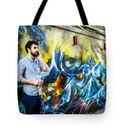 Street In Yellow And Blue . Tote Bag